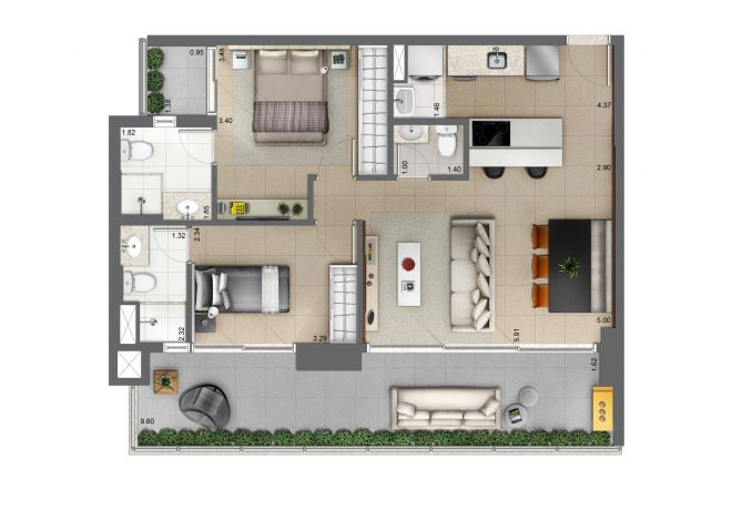 Floor plan 81m² - 2 suites with decoration suggestion