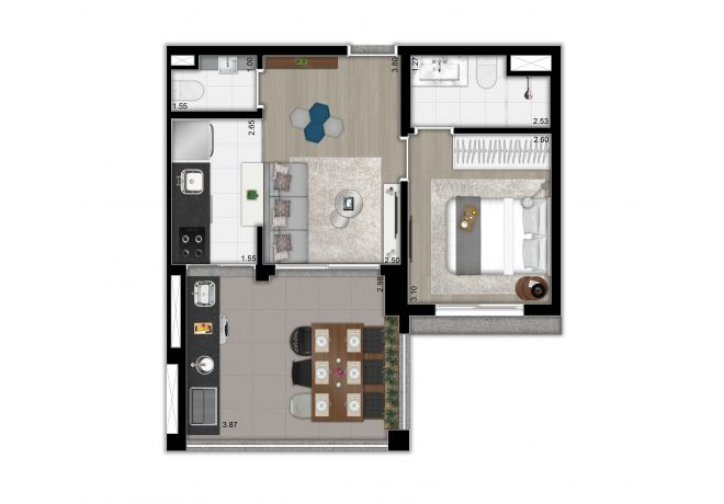 Plan type 47 sqm apartment - 1 suite, lavatory and open kitchen