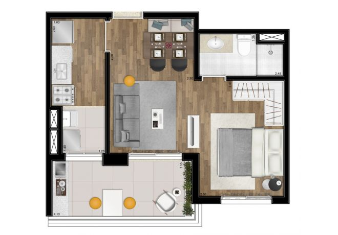 Floor plan - 41m² - 1 integrated suite - with decoration suggestion