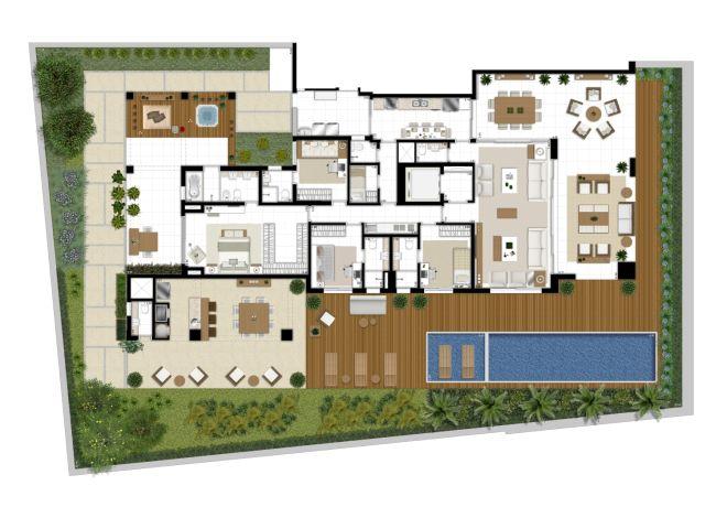 Perspectiva ilustrada da planta do APTO Grand Maison de 682m²