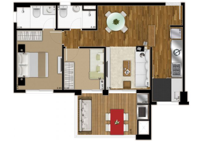 Plant Illustrated 66m² - 2 Dorms (1 suite) - with decoration suggestion