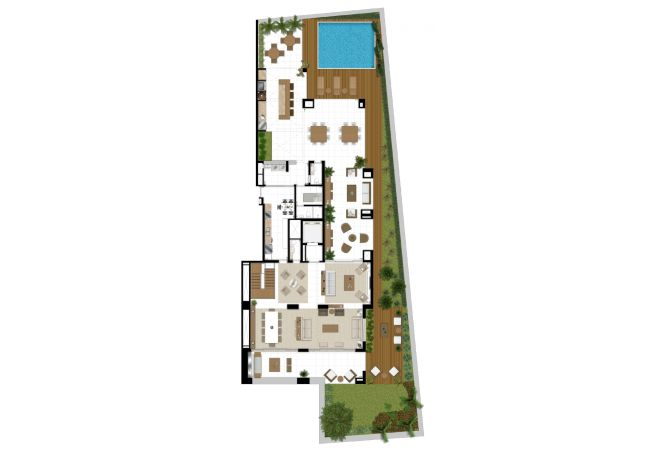 illustrated perspective of lower plant SUITABLE Grand Duplex - 755m²