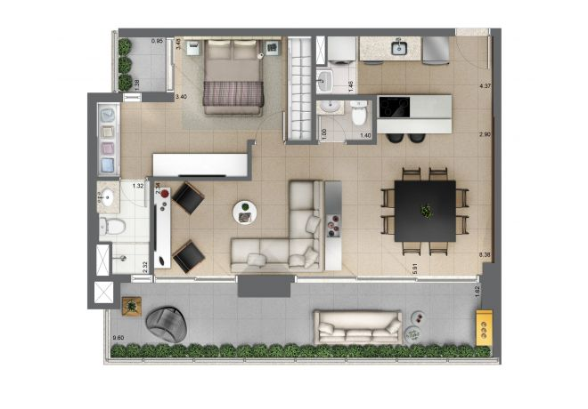 Floor plan 81m² - 1 suite with decoration suggestion