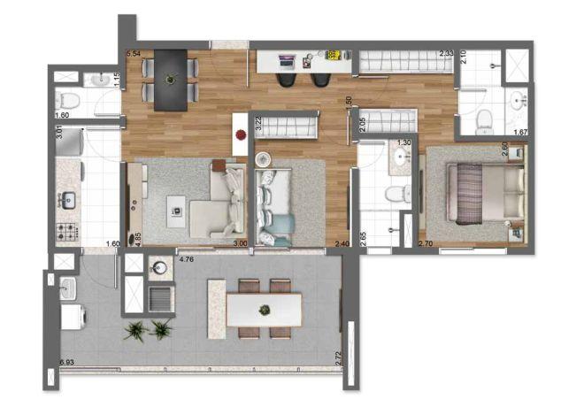 Planta ilustrada 83 m² – 2 suítes com sugestão de decoração