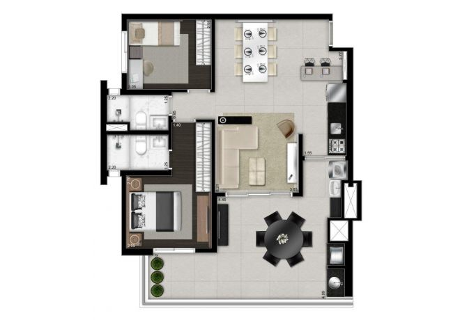 Illustrated plant 88m² - 2 bedrooms (1 en suite) with decoration suggestion