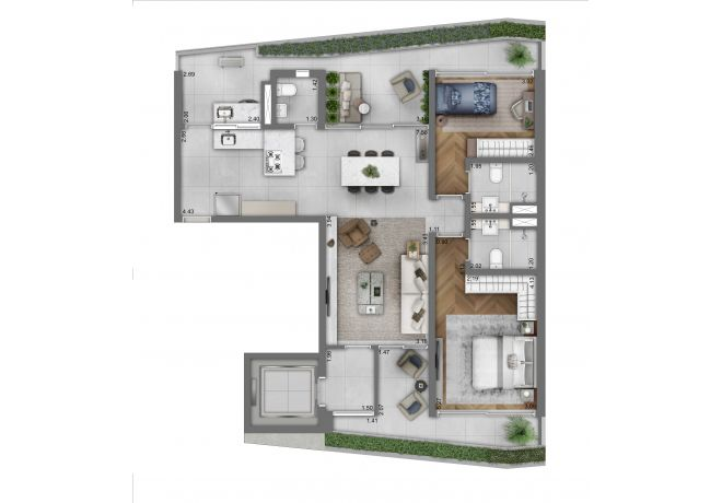 Funchal 641, Torre Residences -Tipo 2 Suítes - 112m²
