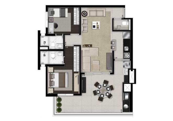 Illustrated plant 88m² - 2 suites with decoration suggestion