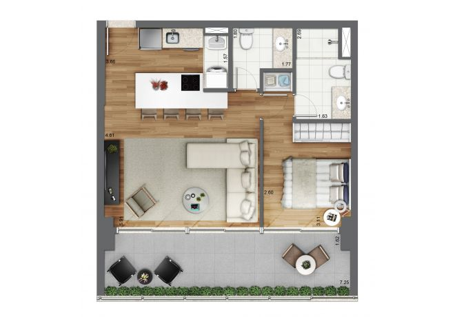 Floor plan 61m² - 1 Suite with decoration suggestion